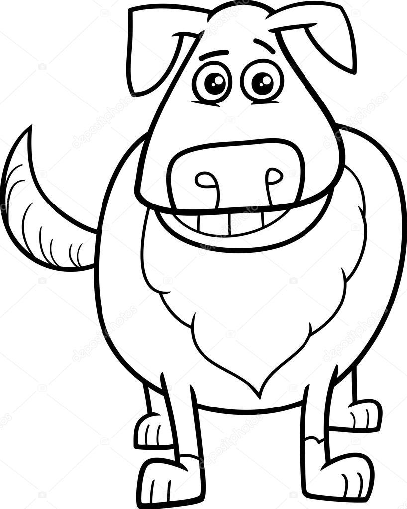 Köpek çizgi Film Karakter Boyama Sayfası Stok Vektör Izakowski
