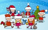 Cartoon Kinder zu Weihnachten