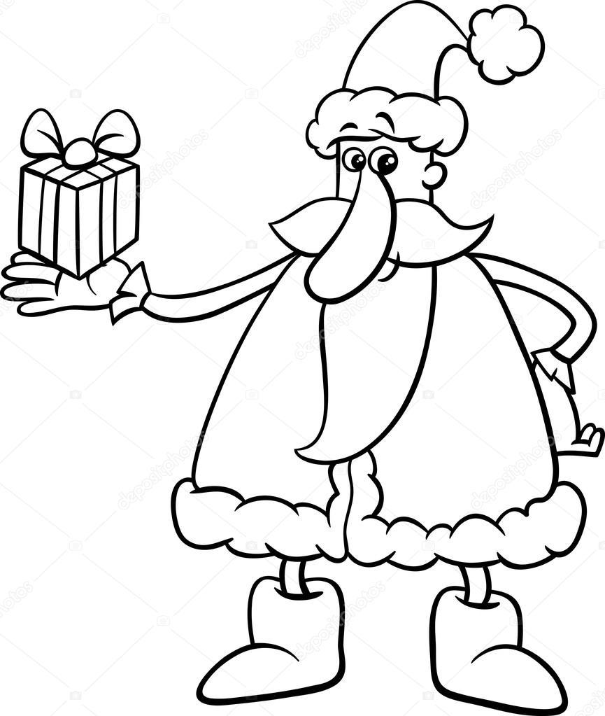 Santa con regalo para colorear página — Vector de stock © izakowski ...