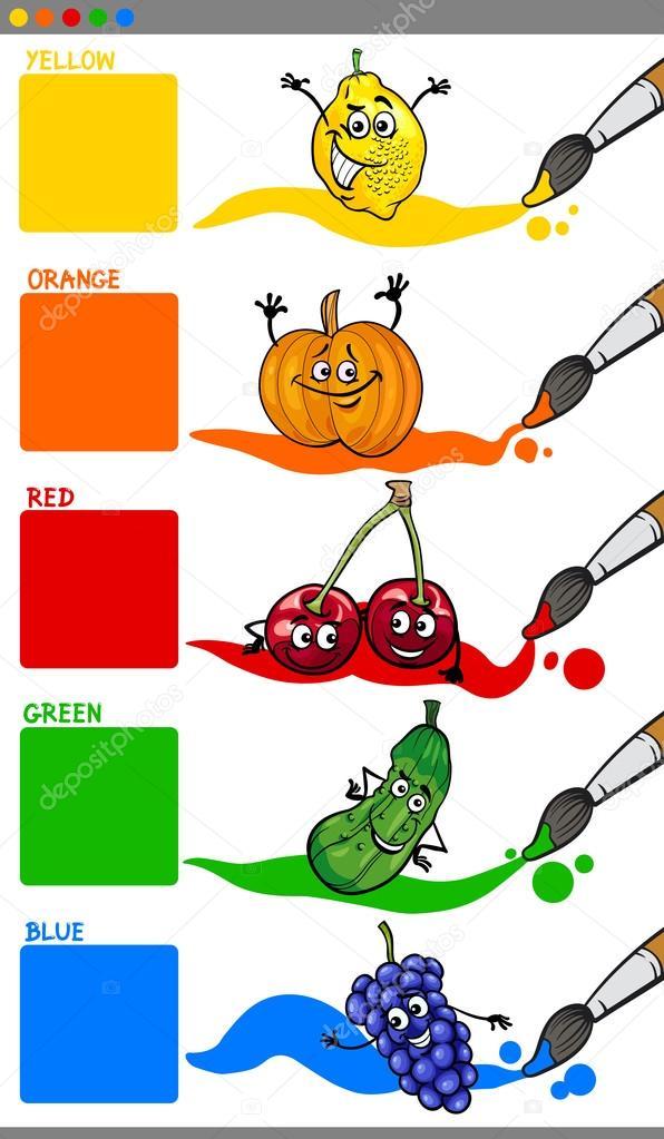 colores primarios con fruta — Vector de stock © izakowski #88917464