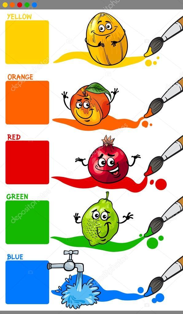 Grundfarben mit Cartoon-Früchten — Stockvektor © izakowski #88917546