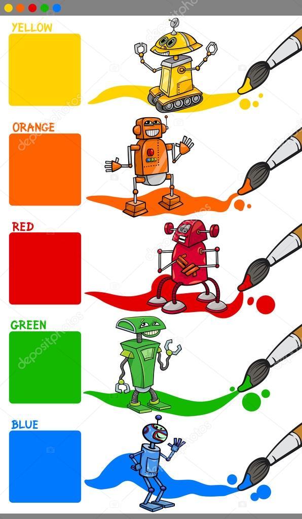 Dibujos: dibujo colores primarios | colores primarios con robots de ...