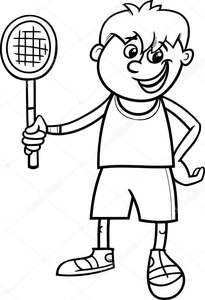 muchacho con raqueta de tenis para colorear página — Archivo ...
