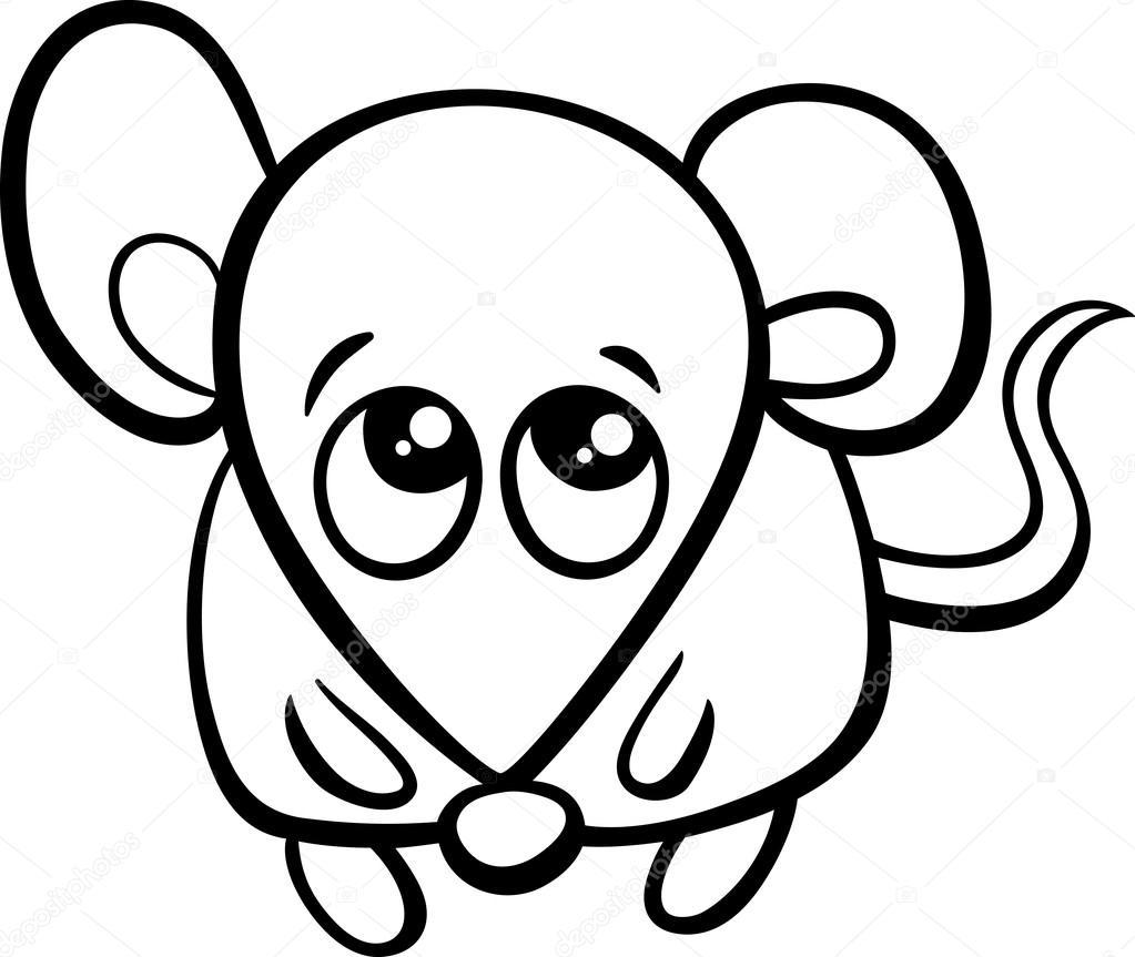 libro de colorear de dibujos animados lindo del ratón — Vector de ...