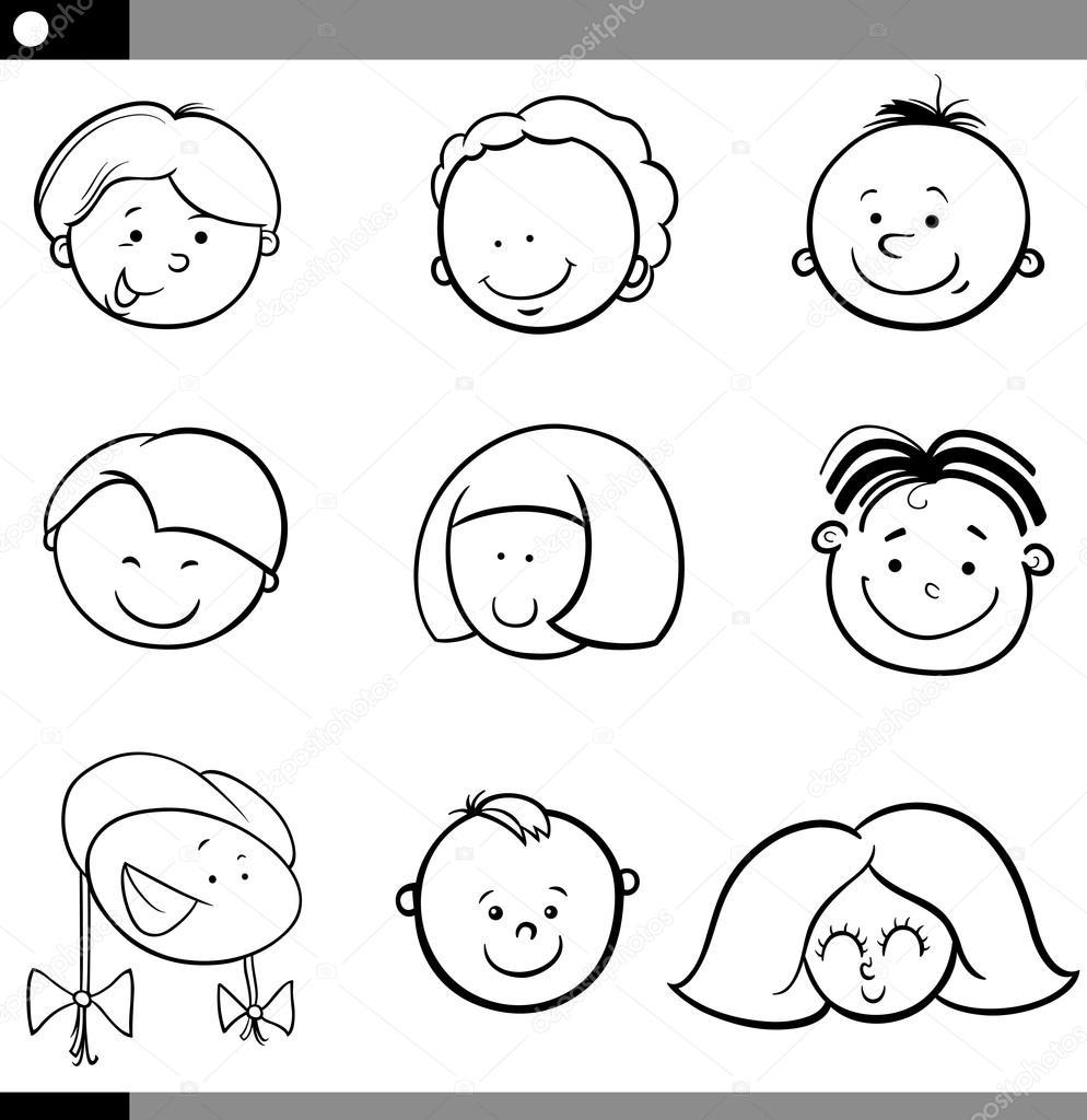 Dibujos Caras Conjunto De Caras De Niños Y Niñas De
