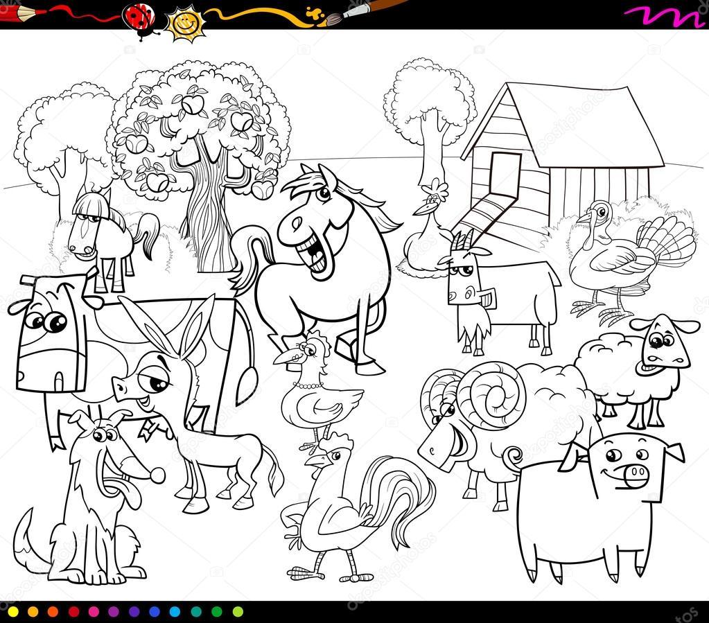 dibujos animados animales de granja para colorear libro — Archivo ...