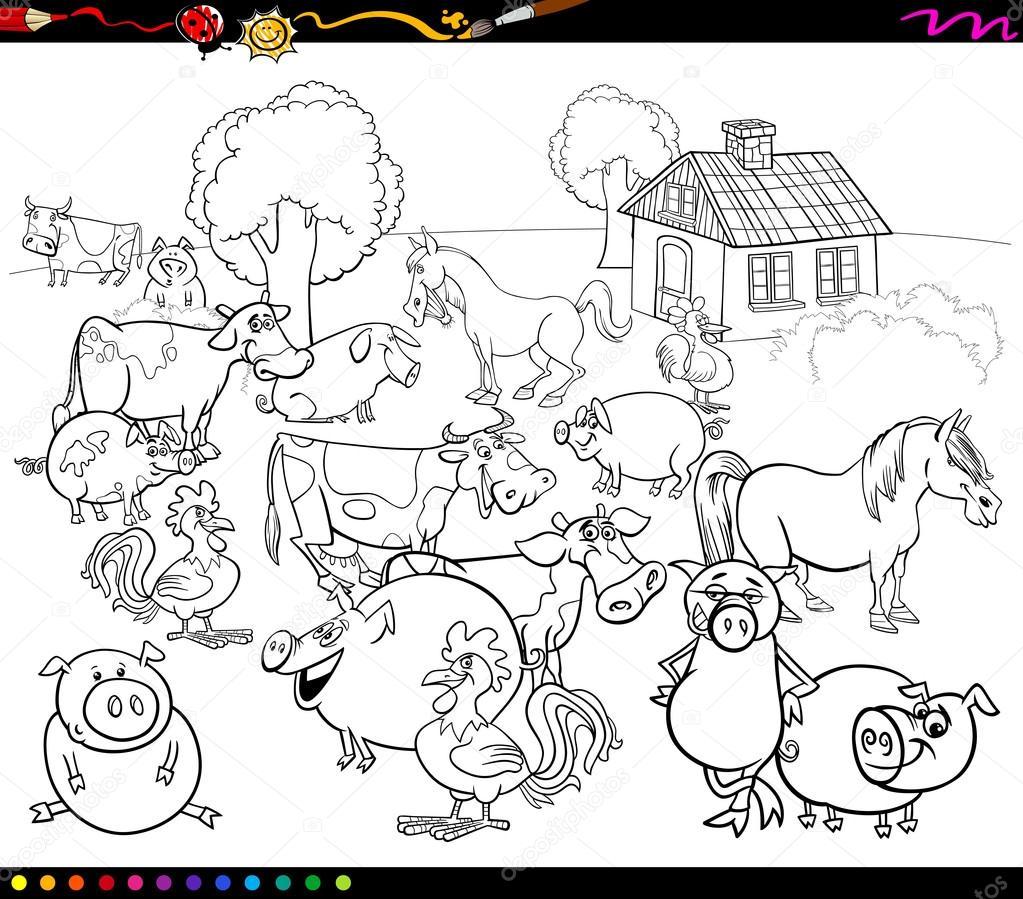 Cartoon Farm Animals For Coloring Stock Vector C Izakowski 90282088