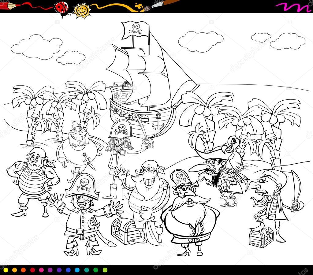 libro de colorear de dibujos animados de piratas — Archivo Imágenes ...