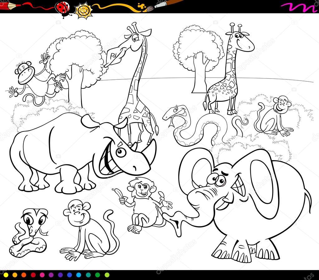 safari animals coloring book — Stock Vector © izakowski #90365112