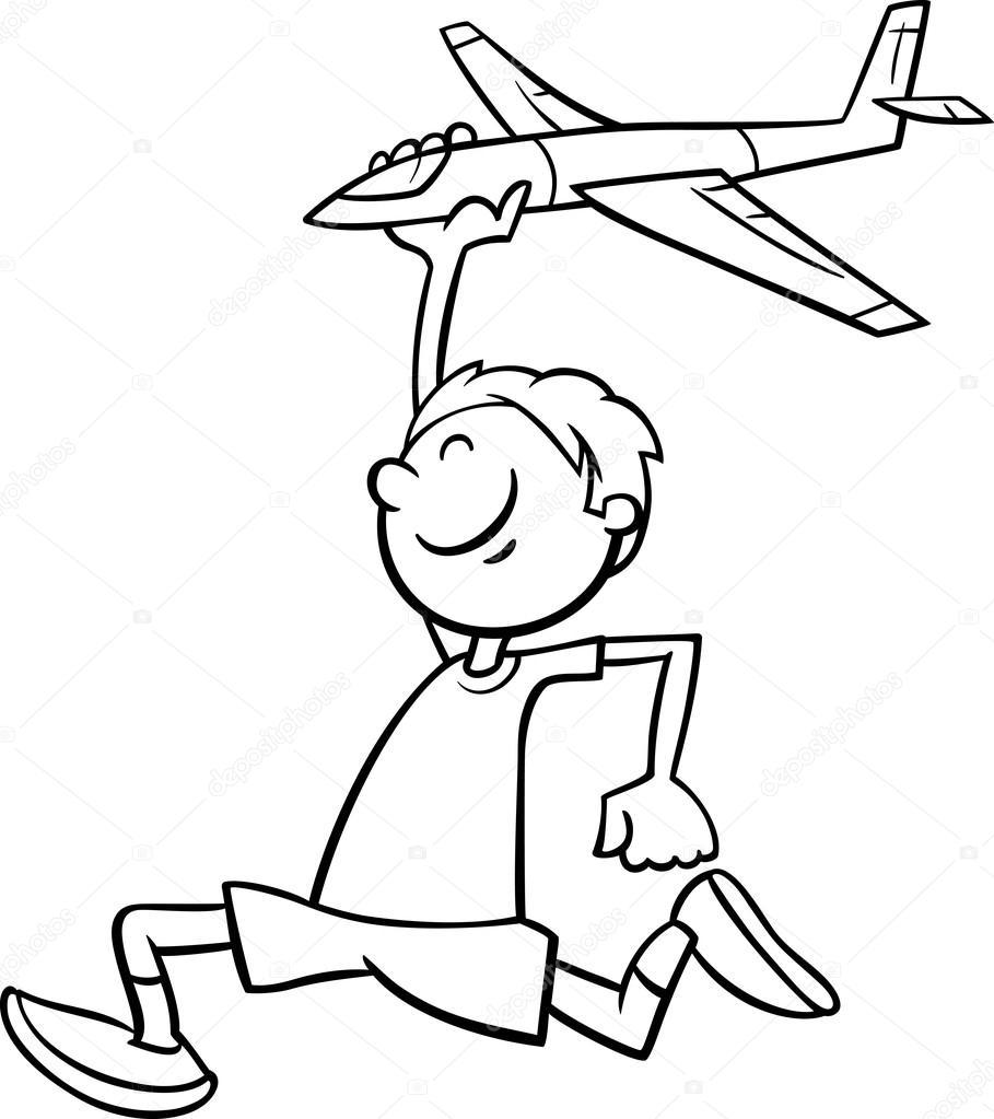 çocuk Ve Oyuncak Uçak Boyama Kitabı Stok Vektör Izakowski 90972512