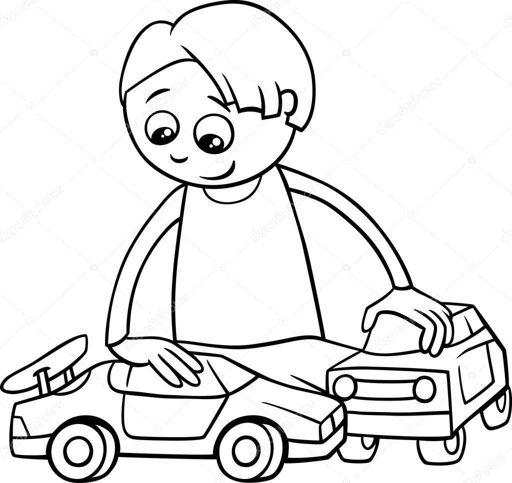 Boy And Toy Cars Coloring Book Stock Vector C Izakowski 90972578