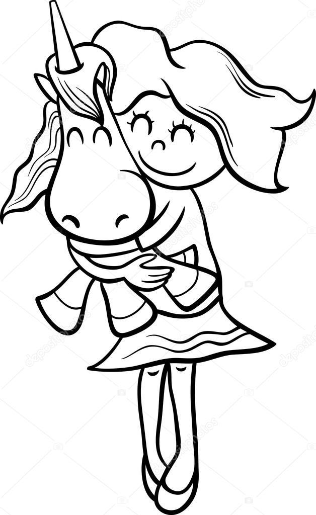 niña y el Unicornio para colorear libro — Archivo Imágenes ...