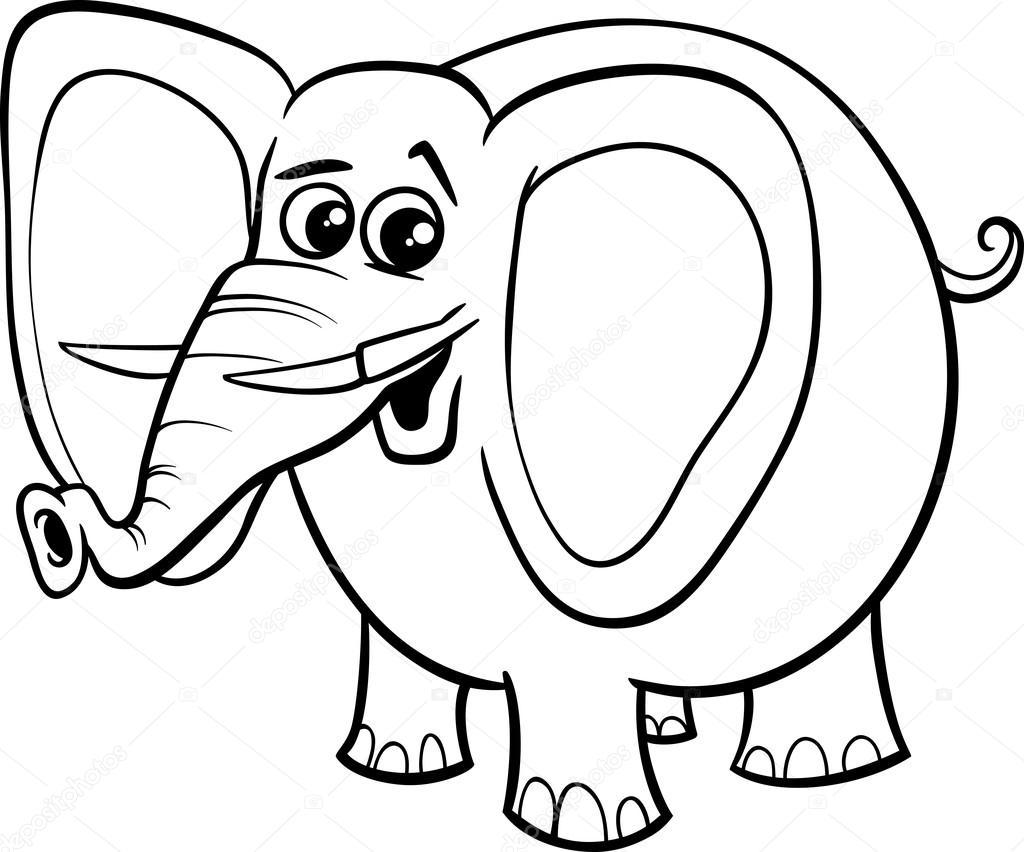 Libro De Animales Para Colorear De Elefante Vector De Stock