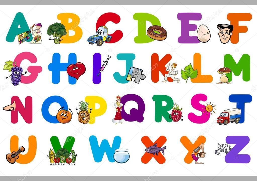 dibujos abecedario alfabeto de dibujos animados para niños