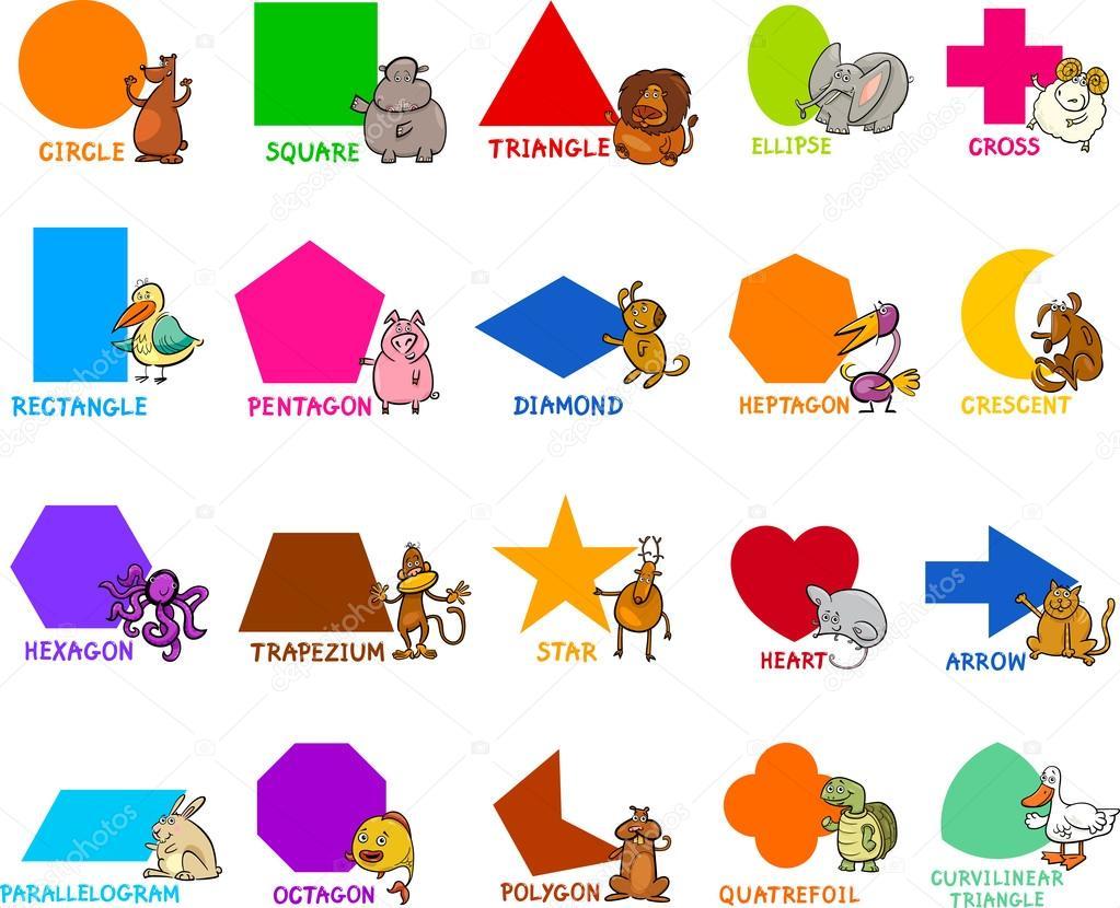 basic geometric shapes with animals