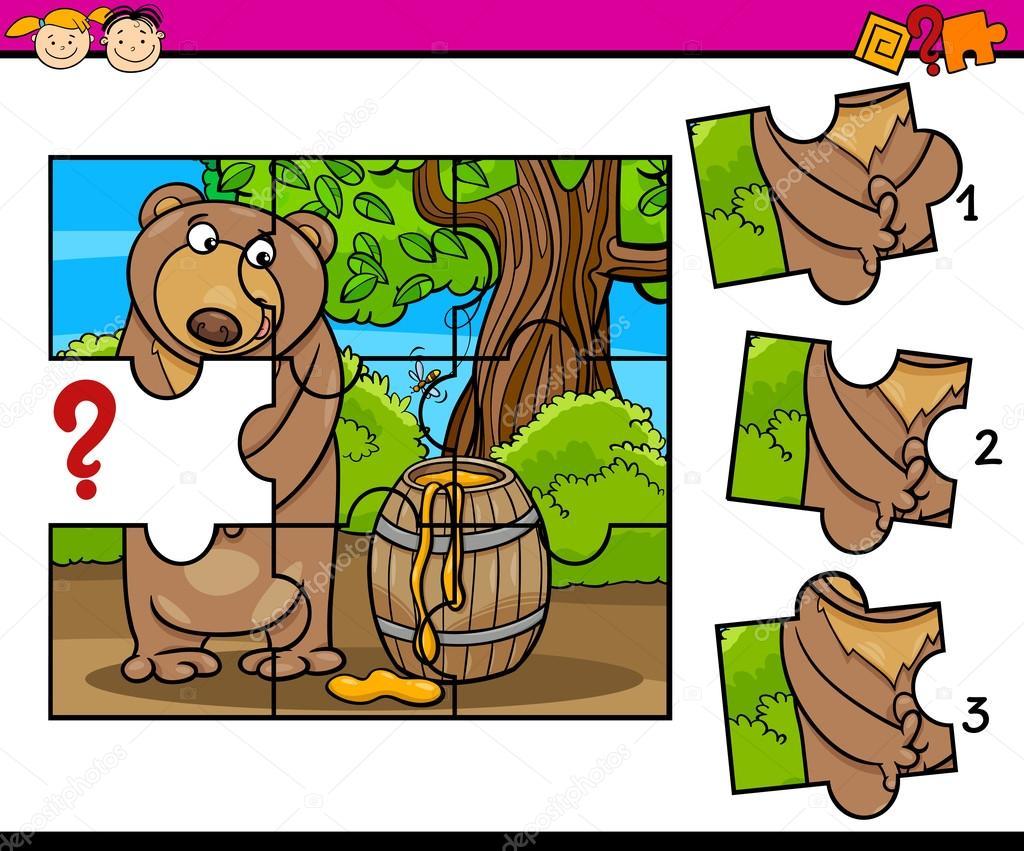puzzle preschool cartoon task — Stock Vector © izakowski #91265574