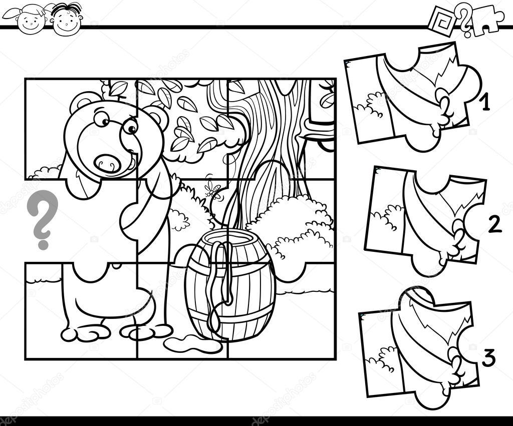 Tier Puzzle Färbung Aufgabe — Stockvektor © izakowski #91265610