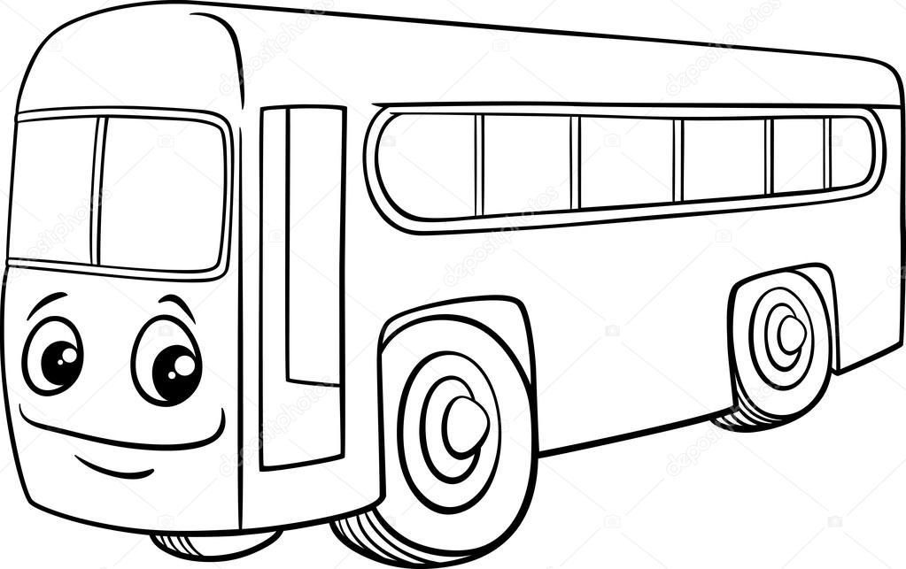 Otobüs Karakter Karikatür Boyama Kitabı Stok Vektör Izakowski