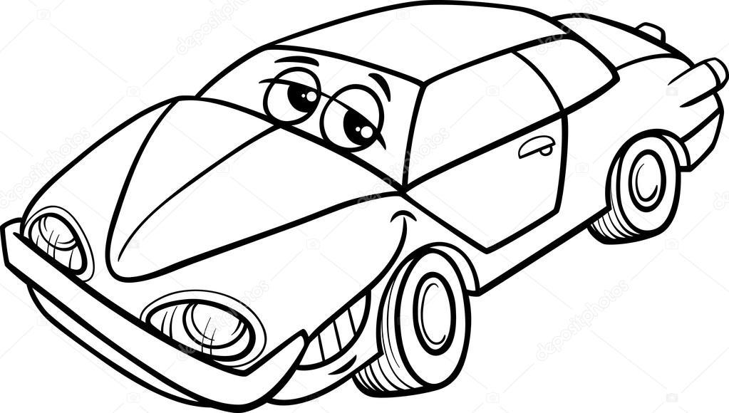 Araba Karakter Karikatür Boyama Kitabı Stok Vektör Izakowski