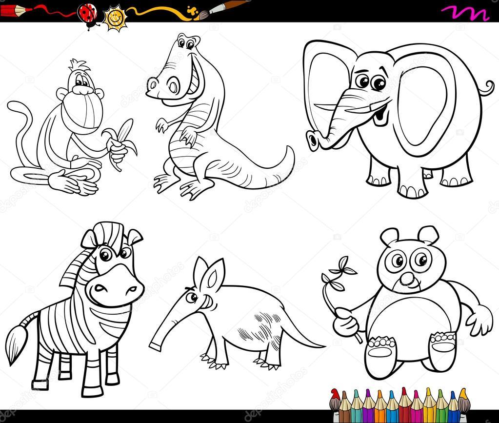conjunto de animales salvajes para colorear página — Vector de stock ...
