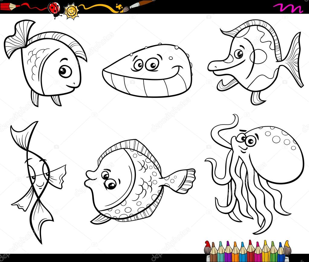 Sea Animals Set Coloring Page Stock Vector C Izakowski 91946746