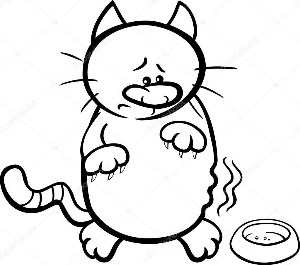 libro de colorear de gato hambriento — Archivo Imágenes Vectoriales ...