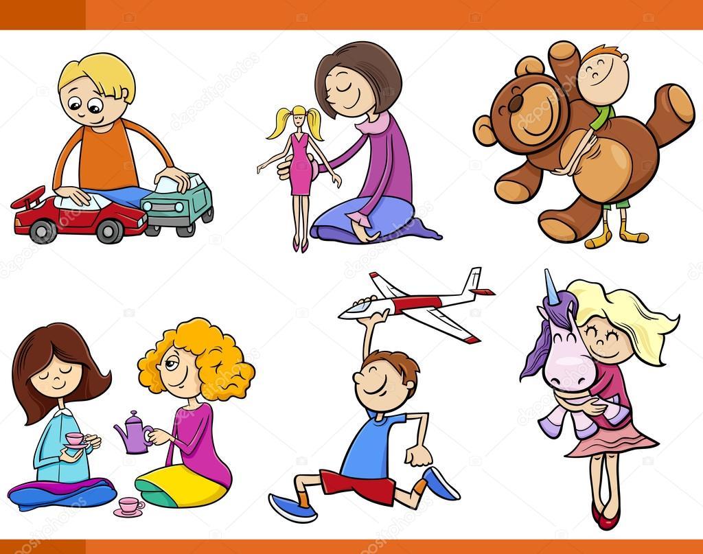 Niños Con Juguetes De Dibujos Animados Conjunto
