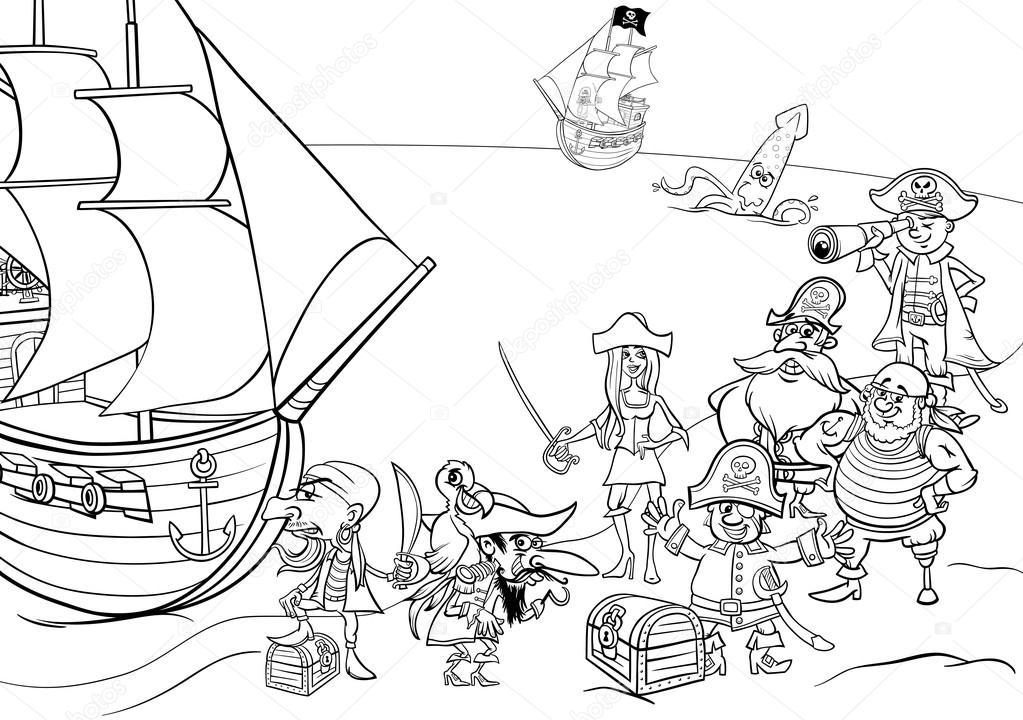 pirates with ship coloring book — Stock Vector © izakowski #94735094
