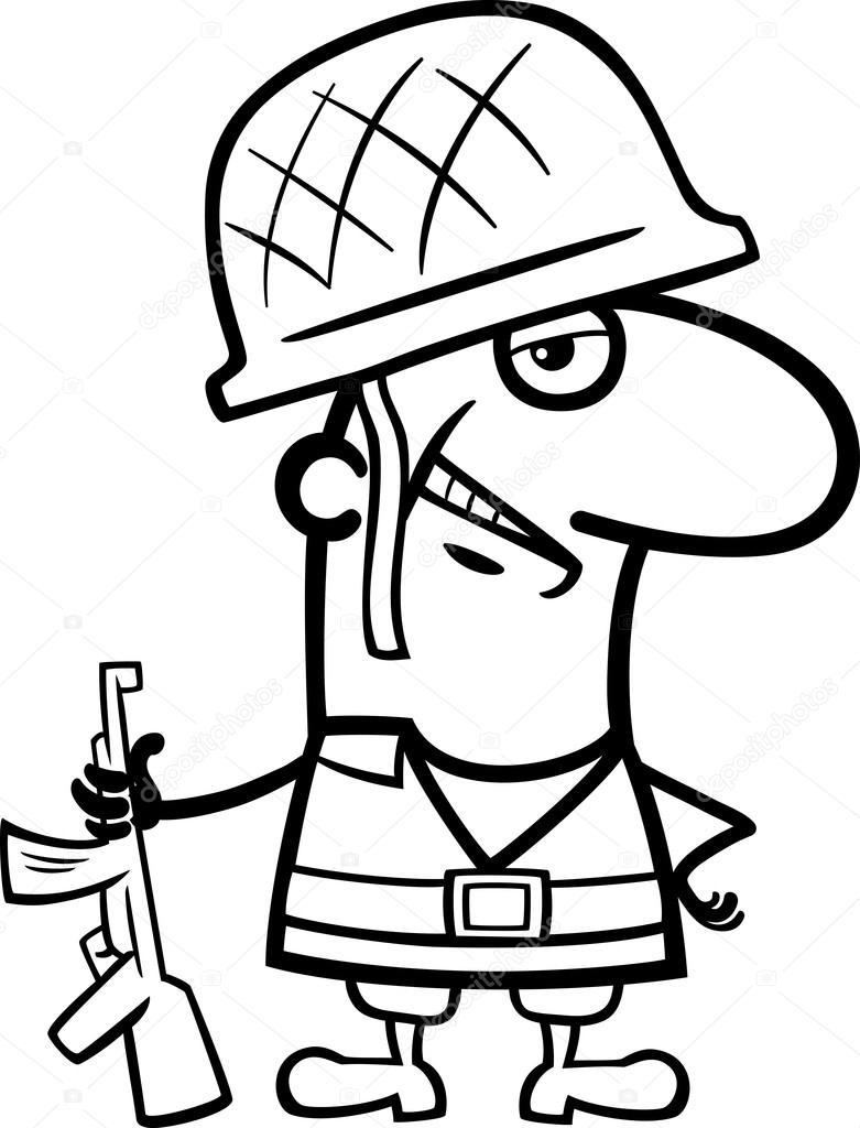 Asker çizgi Film Boyama Kitabı Stok Vektör Izakowski 95621236