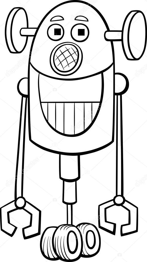 Komik Robot Boyama Kitabı Stok Vektör Izakowski 95754044