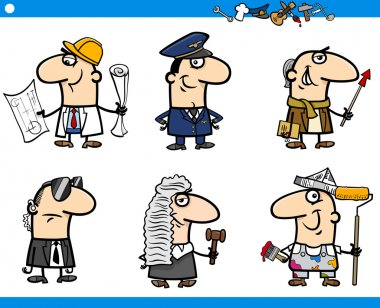 cartoon occupations characters set