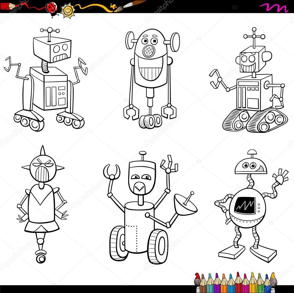 personajes de robot para colorear página — Vector de stock ...