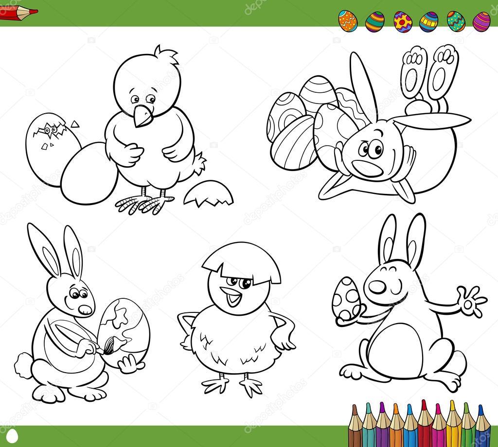 dibujos de Pascua para colorear libro — Archivo Imágenes Vectoriales ...