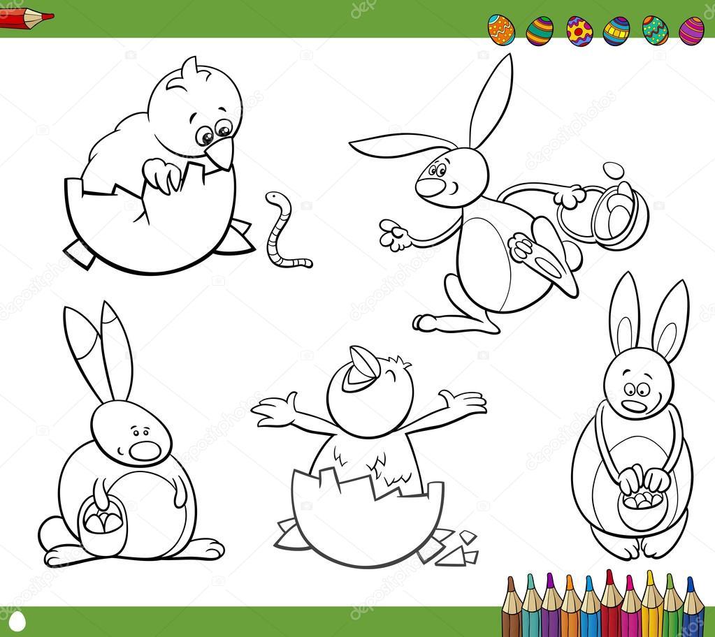 personajes de Pascua para colorear libro — Archivo Imágenes ...