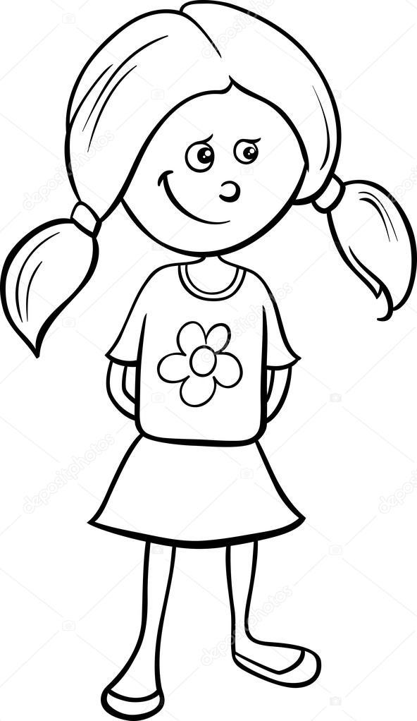 Dibujos: niñas en blanco y negro | linda chica para colorear ...