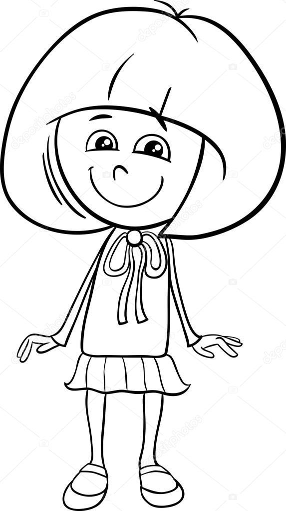Kız Karakter Boyama Kitabı Stok Vektör Izakowski 99015678