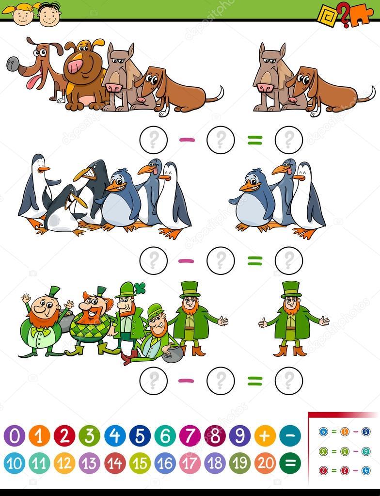 tarea de matemáticas para niños en edad preescolar — Vector de stock ...