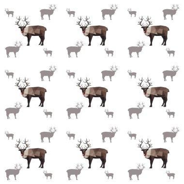 Seamless origami reindeer pattern