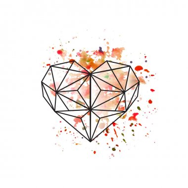 Illustration of geometric heart on watercolor background clip art vector