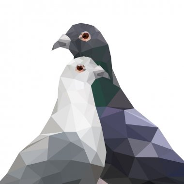 Two origami pigeons