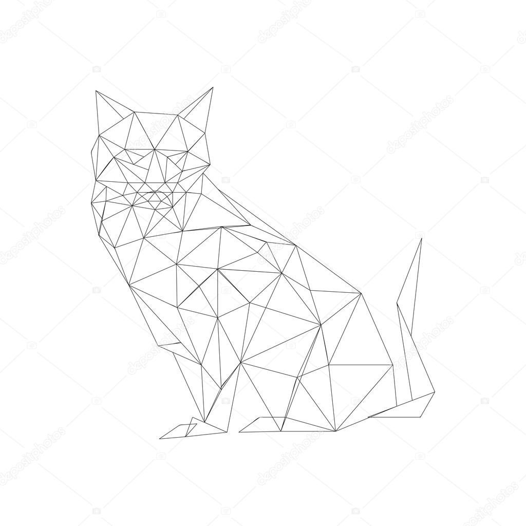 Outlined Origami Cat Stock Vector