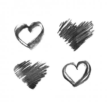 Illustration of hand drawn chalk hearts isolated on white background clip art vector