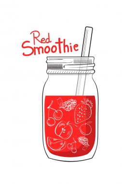 hand drawn red smoothie jar