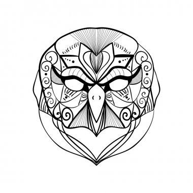 tribal geometric owl