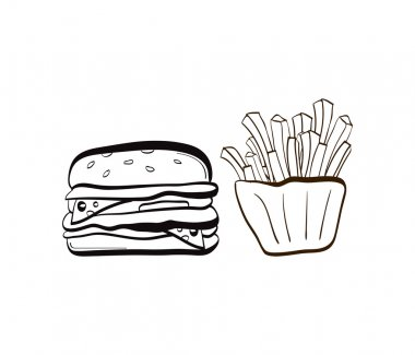 doodle burger and fries icon