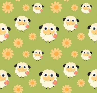 Seamless pattern with flat sheep