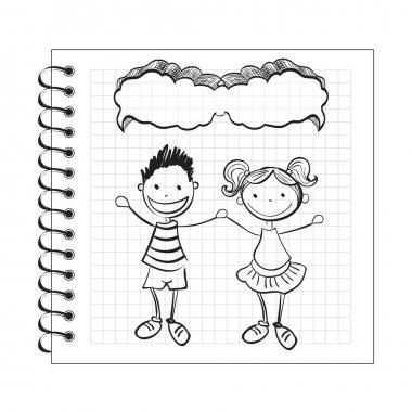 Illustration of doodle kids with speech bubble on notepad clip art vector