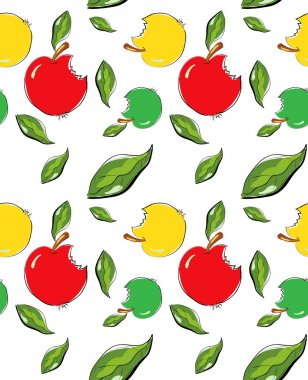Seamless pattern with doodle apples