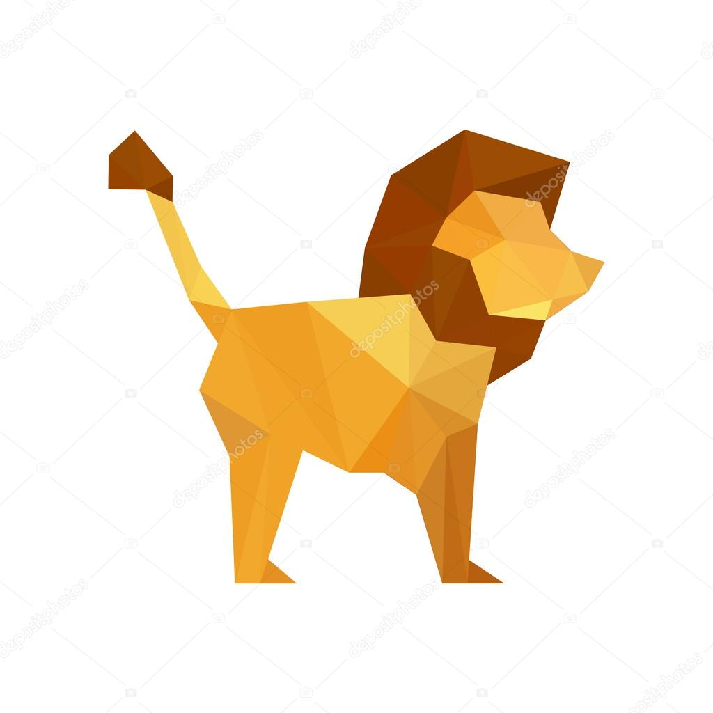 Design With Origami Lion Stock Vector
