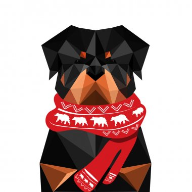 Illustration of origami rottweiler dog with christmas scarf isolated on white background clip art vector